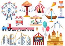 Éléments d'icônes de divertissement de vecteur de parc d'attractions d'isolement Roue de ferris plate de bande dessinée colorée,  illustration stock