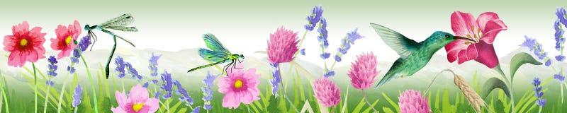 Éléments d'image panoramiques de nature Peut être employé pour la conception de cuisine ou de salon illustration de vecteur