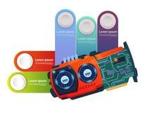 Éléments d'Infographic de calibre avec le circuit Chip Modern Technology Presentation Concept Image libre de droits