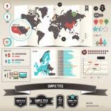 Éléments d'Infographic de carte du monde avec Coun séparé Image libre de droits