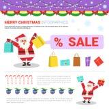 Éléments d'Infographic de Joyeux Noël avec Santa Holding Shopping Bags, concept de vente de vacances illustration libre de droits