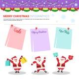 Éléments d'Infographic de Joyeux Noël avec Santa Holding Shopping Bags, texte de vente sur des remises d'achats de vacances d'aut illustration de vecteur