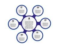 éléments 3d infographic de papier pour six options Infographics d'affaires de Metaball Calibre pour le cercle infographic illustration stock