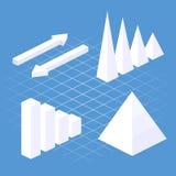 Éléments 3D infographic plats isométriques avec des icônes de données et des éléments de conception Images libres de droits