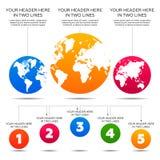Éléments d'Infographics Carte du monde, 5 étapes Photos libres de droits