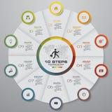 Éléments d'infographics de graphique circulaire d'étapes du résumé 10 Illustration de vecteur Image stock
