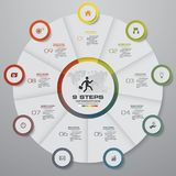 Éléments d'infographics de graphique circulaire d'étapes du résumé 9 Illustration de vecteur Photos stock