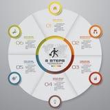 Éléments d'infographics de graphique circulaire d'étapes du résumé 6 Illustration de vecteur Photographie stock libre de droits