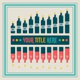 Éléments d'Infographics Histogramme de bouteille de vin Image stock