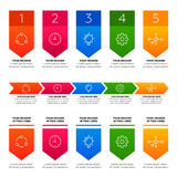 Éléments d'Infographics Processus de cinq étapes Photo stock