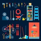 Éléments d'intérieur d'atelier de garage illustration stock