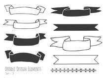 Éléments d'isolement tirés par la main de conception de griffonnage illustration stock