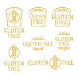 Éléments d'isolement tirés par la main gratuits de logo de gluten photos stock