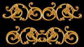 Éléments d'ornement, conceptions florales d'or de vintage Images libres de droits