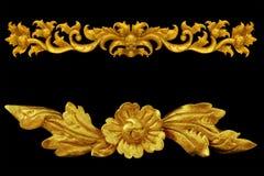 Éléments d'ornement, conceptions florales d'or de vintage image libre de droits