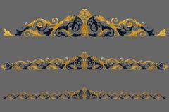 Éléments d'ornement, conceptions florales d'or de vintage Photos libres de droits