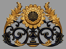 Éléments d'ornement, conceptions florales d'or de vintage Images stock