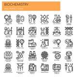 Éléments de biochimie, icônes parfaites de pixel illustration libre de droits