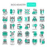 Éléments de biochimie, icônes parfaites de pixel illustration stock