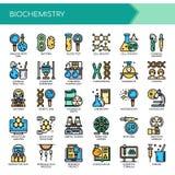 Éléments de biochimie, icônes parfaites de pixel illustration de vecteur