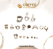 Éléments de café, haute résolution de peinture d'aquarelle Photo stock
