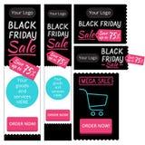 Éléments de calibre pour des bannières Black Friday de Web Image stock