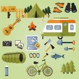 Éléments de camping, équipement de camping Photos libres de droits
