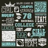 Éléments de conception d'équipe d'université de rugby et de base-ball Photographie stock libre de droits