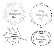 Éléments de conception d'automne avec des potirons et des feuilles pour le thanksgiving illustration de vecteur