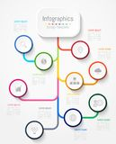 Éléments de conception d'Infographic pour vos données commerciales avec 9 options, parts, étapes, chronologies ou processus Vecte Image stock