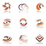 Éléments de conception dans des couleurs chaudes. Positionnement 4. Images libres de droits