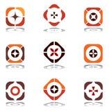 Éléments de conception dans des couleurs chaudes. Positionnement 6. Image libre de droits