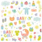 Éléments de conception de bébé garçon ou de fille Photos stock