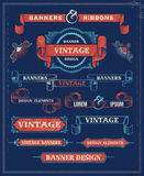 Éléments de conception de bannière et de ruban de vintage illustration de vecteur