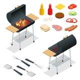 Éléments de conception de barbecue Nourriture d'été de gril Pique-nique faisant cuire le dispositif Illustration isométrique plat illustration libre de droits
