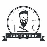 Éléments de conception de Barber Shop Hipster Badges Vintage Logo, labels, bannière, emblèmes Illustration de vecteur Images libres de droits