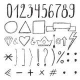 Éléments de conception de croquis numéros Ensemble de signes graphiques tirés par la main Image stock