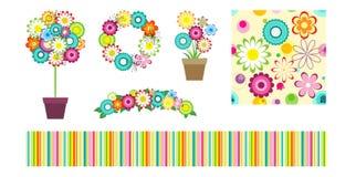 Éléments de conception de fleur sur le blanc Illustration Stock