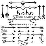 Éléments de conception de griffonnage de Boho Photos libres de droits