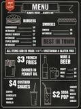 Éléments de conception de menu de restaurant avec la nourriture et la boisson dessinées par craie Photographie stock libre de droits