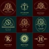 Éléments de conception de monogramme, calibre gracieux Élégant calligraphique conception de logo de schéma Images stock
