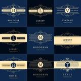 Éléments de conception de monogramme, calibre gracieux Élégant calligraphique conception de logo de schéma illustration stock