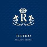 Éléments de conception de monogramme, calibre gracieux Élégant calligraphique conception de logo de schéma Photos stock