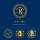 Éléments de conception de monogramme, calibre gracieux Élégant calligraphique conception de logo de schéma Photos libres de droits