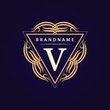 Éléments de conception de monogramme, calibre gracieux Élégant calligraphique conception de logo de schéma Lettre V Signe d'affai Photos stock