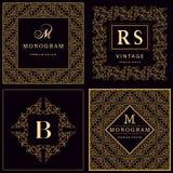 Éléments de conception de monogramme, calibre gracieux Élégant conception de logo de schéma illustration stock