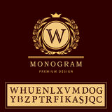 Éléments de conception de monogramme, calibre gracieux Élégant conception de logo de schéma Emblème W de lettre Rétros insignes d Photographie stock