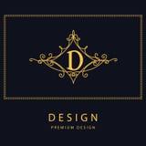 Éléments de conception de monogramme, calibre gracieux Élégant conception de logo de schéma Lettre D emblème Illustration de vect Image stock