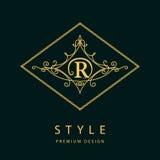 Éléments de conception de monogramme, calibre gracieux Élégant conception de logo de schéma Lettre R emblème Illustration de vect illustration stock