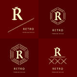 Éléments de conception de monogramme, calibre gracieux Élégant conception de logo de schéma Lettre R emblème Illustration de vect Images libres de droits